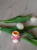 Kokt ägg i äggkopp med tulpan Royaltyfri Fotografi