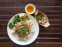 Kokt grisköttben på ris version2 Royaltyfri Bild