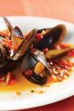 kokt musslor Arkivfoton