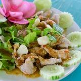 Kokt Pork med limefruktvitlök och Chilisås royaltyfria foton