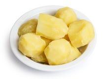 Kokt potatis i bunke royaltyfri fotografi