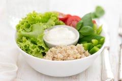 Kokt quinoa med grönsallat, peppar, tomaten och sås Arkivbild