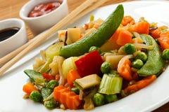 kokt vegetariska matgrönsaker Arkivbild