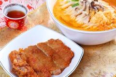 Kokta nudlar för grisköttstöd Royaltyfri Foto