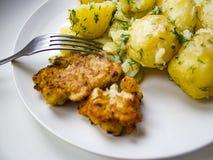 Kokta potatisar med persilja- och hönabiff royaltyfri fotografi