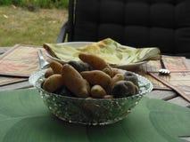 Kokta potatisar som är klara att äta Arkivfoto