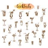 Koktajl ikony Ręka rysujący koktajle ustawiający Nakreślenie alkoholu napój Obrazy Stock