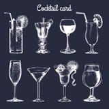 Koktajl karta Ręka kreślił alkoholicznych napojów szkła Wektorowy ustawiający napój ilustracje, vodkatini, szampan, etc Zdjęcie Royalty Free