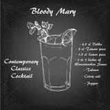 Koktajl krwisty Mary w nakreślenie stylu dla menu, koktajl karty 1 ilustracja wektor