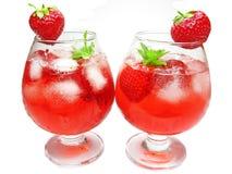 koktajl pije owocowego poncza czerwieni truskawki Fotografia Royalty Free