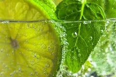 Koktajl z wapna i miętówki liśćmi Fotografia Stock