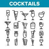 Koktajle, alkohol i Miękkich napojów Liniowe ikony Ustawiać, ilustracji