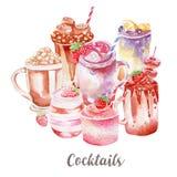 Koktajle ilustracyjni Ręka rysująca akwarela na białym tle Obraz Royalty Free