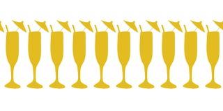 Koktajli/lów szkła złociści na białym bezszwowym wektorze graniczą Pić szkła, szampan, koktajli/lów flety Używa dla świętowań, ilustracja wektor