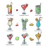 Koktajlu alkoholu wektorowy napój pije alkoholicznego tequila Martini napoju koktajl w szkle z pina colada mojito i royalty ilustracja