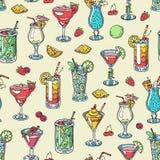 Koktajlu alkoholu wektorowy napój pije alkoholicznego tequila Martini napoju koktajl w szkle z pina colada mojito i ilustracji