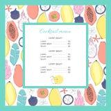 Koktajlu menu szablon Fotografia Stock
