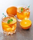 koktajlu napoju lodu pomarańcze miękka część zdjęcia stock