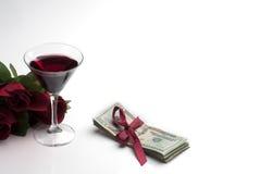 koktajlu pieniądze czerwona róż sterta Zdjęcie Stock