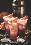 Koktajlu s?ony pies z grapefruitowym sokiem, ajer?wk?, sol? i lodem, czarny t?o, selekcyjna ostro?? fotografia royalty free