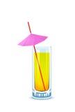 koktajlu szkła słomiany parasolowy kolor żółty Fotografia Royalty Free