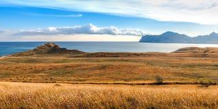 Koktebel bay and ancient volcano Karadag, Crimea Stock Photos