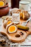 Kokurki, ovos cozidos duros envolvidos massa de Rye Imagem de Stock