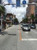 Kokusai dori, Okinawa, internationell gata, Japan Fotografering för Bildbyråer