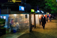 Kokutai Road with the Famous Yatai food stall in Fukuoka Royalty Free Stock Image