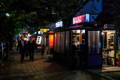 Kokutai Road with the Famous Yatai food stall in Fukuoka Stock Images