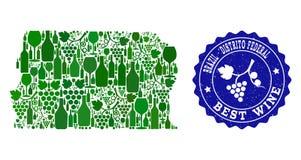 Kolaż Gronowa wino mapa Brazylia, Distrito wina Grunge foka - Federacyjna i Najlepszy ilustracja wektor