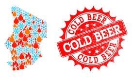 Kolaż mapa Czad ogień, płatek śniegu i Zimnego piwa Drapająca foka ilustracji