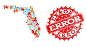 Kolaż mapa Floryda stan płomień, płatek śniegu i błąd Drapający znaczek ilustracja wektor