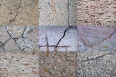 Kolażu stary beton, kamień Tło tekstura porysowany stary uszkadzający beton zdjęcia stock