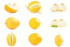 Kolaż świeży słodki melon odizolowywający na bielu Zdjęcia Royalty Free