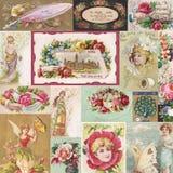 Kolaż antykwarskiego wiktoriański handlarskie karty z kwiatami i czarodziejkami royalty ilustracja