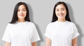 Kolaż azjatykcia dziewczyna w pustej szablonu t koszula odizolowywającej na szarym tle Młoda kobieta w tshirt z kopia egzaminem p zdjęcie royalty free