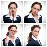 Kolaż biznesowa kobieta z różnymi wyrażeniami zdjęcia royalty free