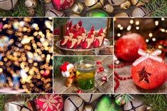 Kolaż Bożenarodzeniowe fotografie w czerwonych i zielonych kolorach zdjęcie stock