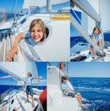Kolaż chłopiec na pokładzie żeglowanie jachtu na lato rejsie Podróżuje przygodę, jachting z dzieckiem na rodzinie Obraz Stock