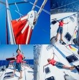 Kolaż chłopiec na pokładzie żeglowanie jachtu na lato rejsie Podróżuje przygodę, jachting z dzieckiem na rodzinie Obrazy Stock