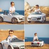 Kolaż chłopiec podróżować samochodem, troszkę Obraz Royalty Free
