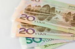 Kolaż chińczyka Rmb Juan lub banknoty Zdjęcia Royalty Free