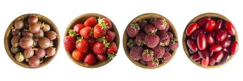 Kolaż czerwone owoc i jagody odizolowywający na bielu Set truskawki, malinki, cornels i agresty, Słodki i soczysty b zdjęcia royalty free