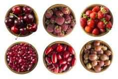 Kolaż czerwone owoc i jagody odizolowywający na bielu Set truskawki, wiśnie, malinki, cornels, agresty i pomegra, obraz stock
