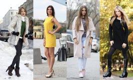 Kolaż cztery różnego modela w modnych ubraniach dla Zdjęcie Stock
