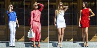 Kolaż cztery seksownej kobiety, uliczna moda fotografia royalty free