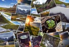 Kolaż dzika natura Altai Góry, doliny, rzeki, jeziora, śnieżni szczyty, zielone łąki Podróż przez Altay kolażu Zdjęcie Stock