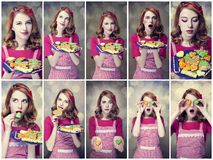 Kolaż fotografie - rudzielec kobiety z ciastkami Zdjęcie Stock