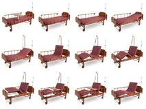 Kolaż 12 fotografii nowożytny automatyczny łóżko dla szpitala dla pe zdjęcie stock